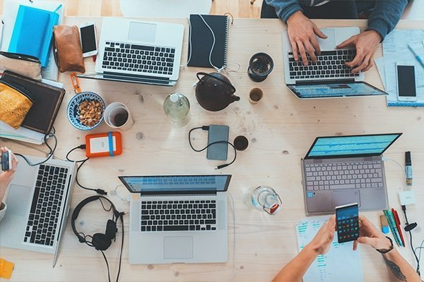 Digital marketing team working on social media campaign